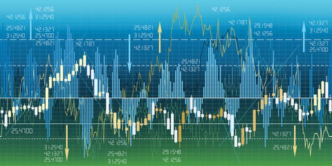 Financial market charts, quotes & analysis. Seamless border.