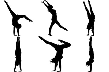 Silhouette gymnast dancer