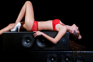 The sexy woman and the soundbox