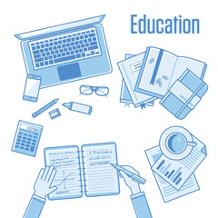 Flat linear design vector illustration concepts of education and