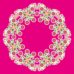 Floral rosette ornament, pink background