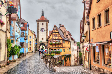 Medieval town Rothenburg ob der Tauber in rainy weather