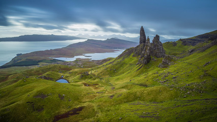 The Old man of Storr, Scottish highlands in a cloudy morning, Scotland, UK