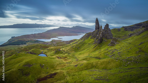 Wall mural The Old man of Storr, Scottish highlands in a cloudy morning, Scotland, UK