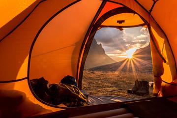 Fotobehang Kamperen Sunrise at camping in northern Sweden
