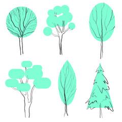 stylized trees isolated on white background