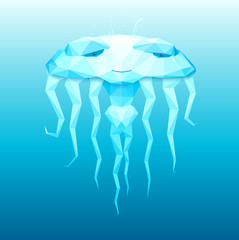 Vector stylized image of the good girl jellyfish with wise eyes.