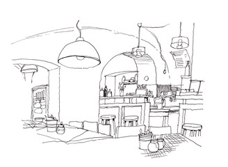 cozy small cafe interior hand drawing illustration