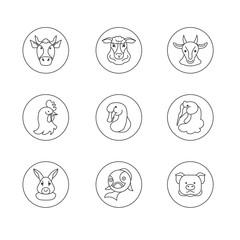 Line icons farm animals