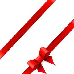 Red ribbon bow horizontal border