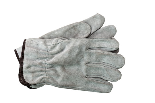 Grey pair of gloves icon isolated on white.
