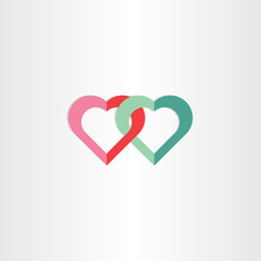 two green and red hearts symbol