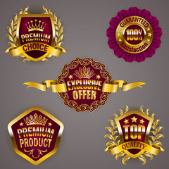 Set of luxury gold badges with crown, ribbon. Exclusive offer, premium product, 100 % top quality guaranteed. Promotion emblems, icons, labels, medal, blazons for web, page design. Illustration EPS 10