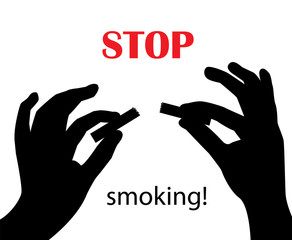 silhouette of hands breaking a cigarette on a white background