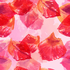 A seamless background pattern with watercolour rose petals