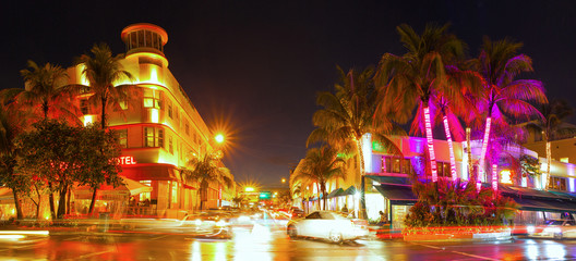 Miami Beach Florida, colorful night summer scene on Ocean Drive Art Deco District