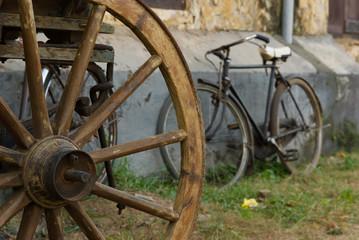 Bullock Cart Wheel With Bicycle, Galle, Sri Lanka