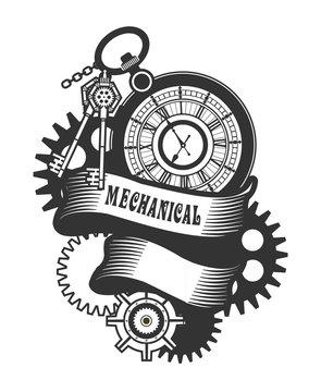 Steampunk Clock badge