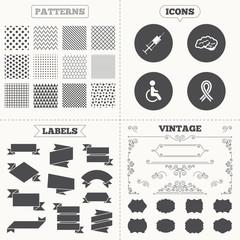Medicine icons. Syringe, disabled, brain.