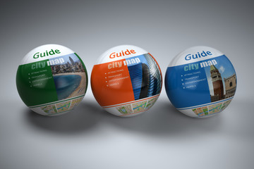 Travel guide concept on white isolated background.