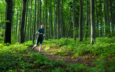 young man easy running on the trail in the forest with green leaves
