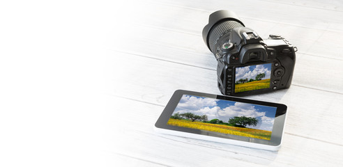 DSLR and tablet.
