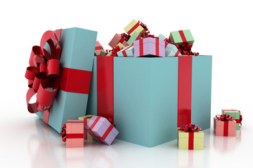 A lot of gifts. Ribbon and bow on the box. 3D.