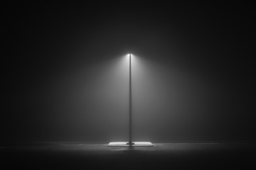 Darkness.  Lonely light at the entrance to a park long a highway in a cold and misty night Fotomurales