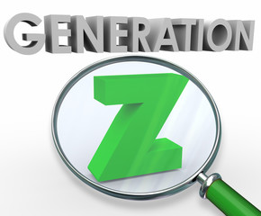 Generation Z 3d Words Magnifying Glass Finding Searching Youth