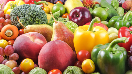 Large group of fresh fruits and vegetables for healthy