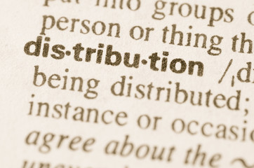 Dictionary definition of word distribution