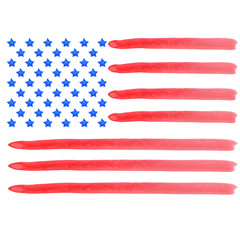 Watercolor american flag. Vector