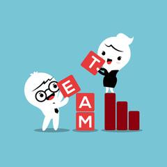 Team building activities business concept cartoon illustration