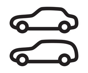 Vector set of silhouettes of cars.