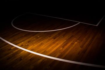 Obraz wooden floor basketball court with light effect - fototapety do salonu
