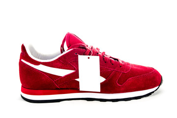 red sport shoes