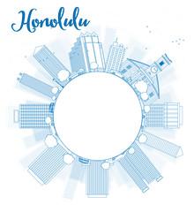 Outline Honolulu Hawaii skyline with blue buildings and copy spa