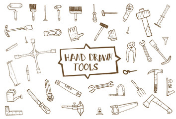 Hand drawn tool icons set, isolated
