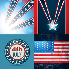 set of american independence day background