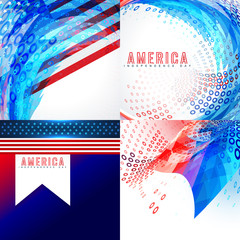 stylish american flag design set