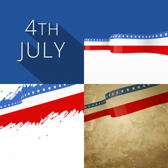 4th of july american independence day background set