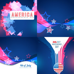 vector set of abstract background of american independence day