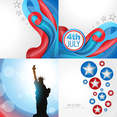 set of 4th july american independence day background