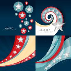 stylish set of 4th july independence day background illustration