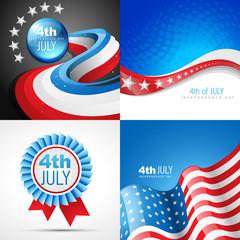vector set of american independence day flag design illustration