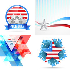 vector set of american independence day flag design illustration