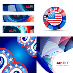 set of american flag design illustration of 4th july independenc
