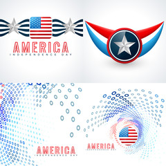 vector set of american independence day flag design