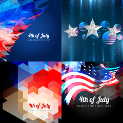 vector set of american independence day background