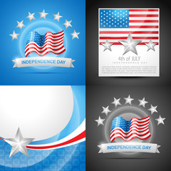 stylish set of american independence day background illustration